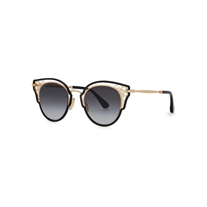 e907903418 Jimmy Choo Dhelia Black Cat-Eye Sunglasses   ModeSens