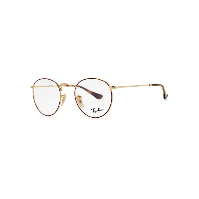 8be59f3d33fd Ray Ban Gold Tone Round-Frame Optical Glasses