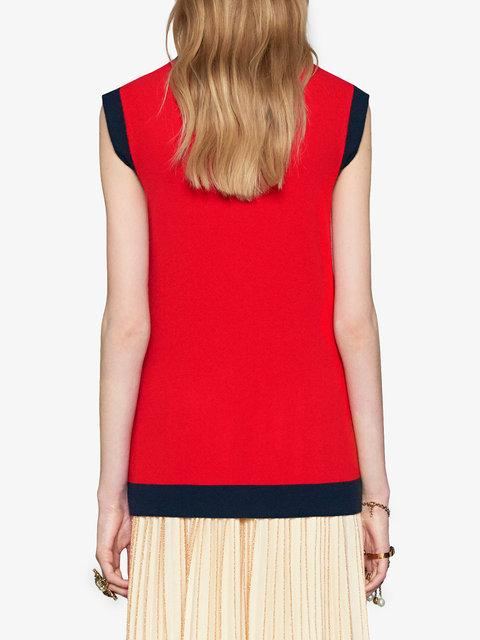 f08710696405c3 Gucci Two-Tone Wool And Cashmere-Blend Top In Red