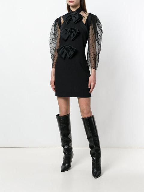 Givenchy Bow-Embellished Swiss-Dot Tulle And Wool-Crepe Mini Dress In Black