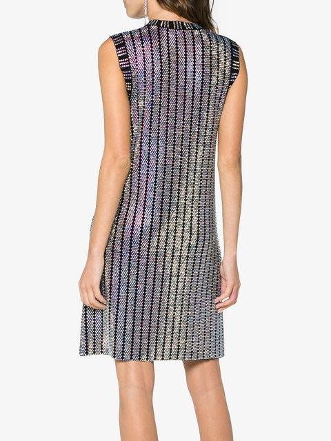 GUCCI GUCCI CRYSTAL EMBROIDERED RIBBED KNIT DRESS - BLACK,501416X9M9112476874