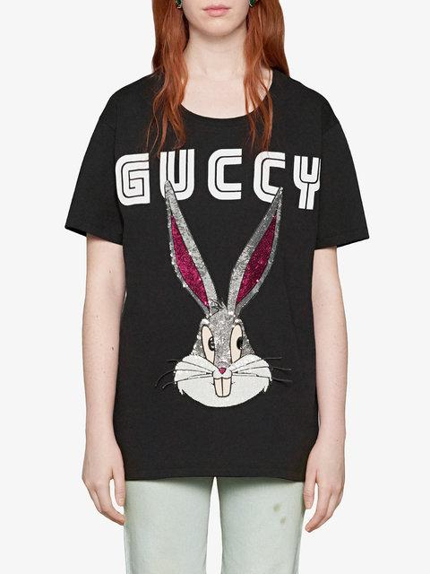 9dbec4af0ed Gucci Black Guccy Crystal Bugs Bunny T-Shirt In 1082 Black Multicolor