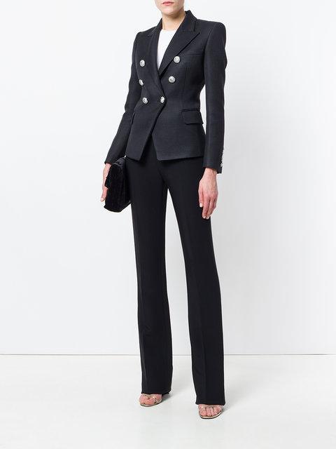 Balmain Black Double-Breasted Wool Blazer