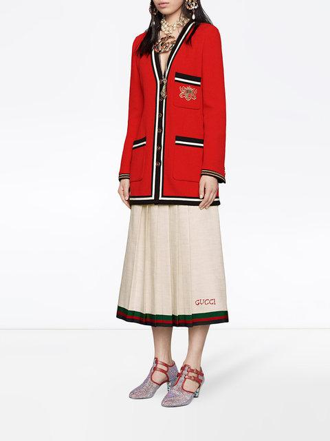 470f03fe57 Gucci Pleated Embroidered Linen And Silk-Blend Midi Skirt In White ...