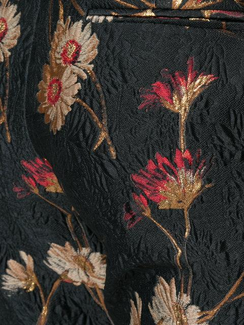 Prabal Gurung Mid-Rise Floral-Jacquard Bootcut-Leg Pants In Black