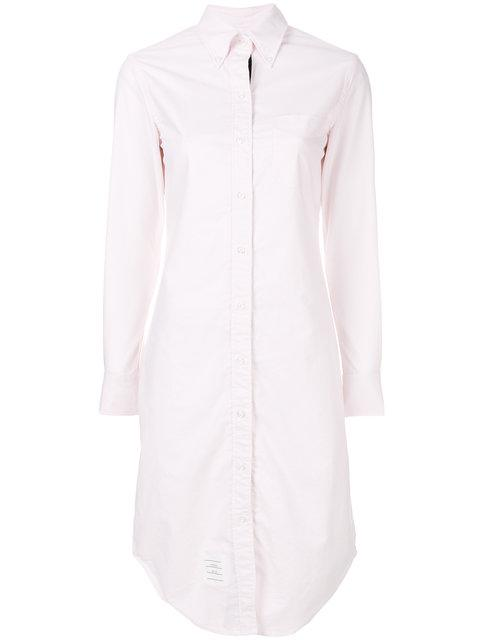 a774da32013 Thom Browne Button Down Knee Length Shirt Dress With Grosgrain Placket -  Pink