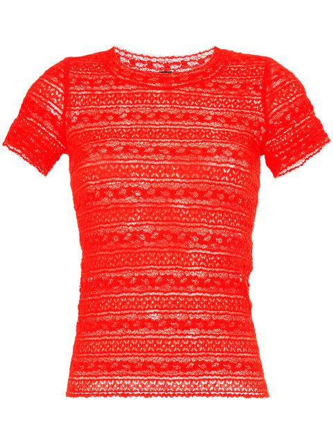 48b4b3bd Marc Cain Embroidered Fitted T-Shirt In Red | ModeSens