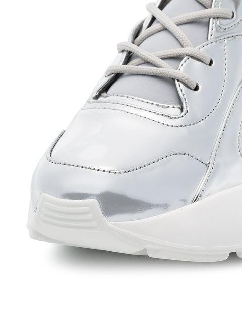 Stella Mccartney Eclypse Silver Faux Leather Sneakers In Metallic