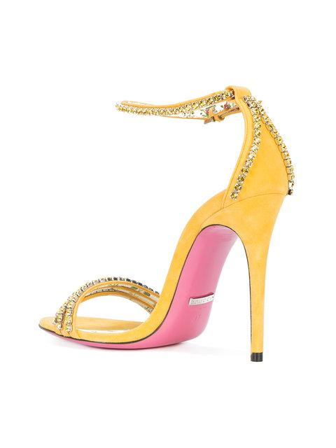 Gucci Ilse Crystal Embellished Sandal In Yellow
