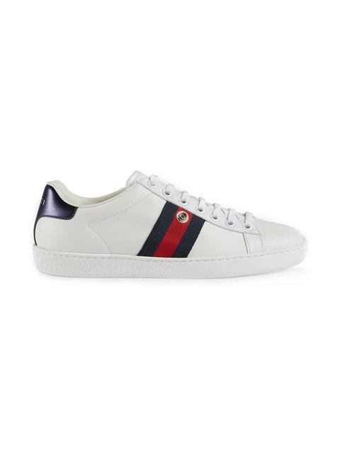 Gucci Ace Sneaker With Removable Patches In 9060 White