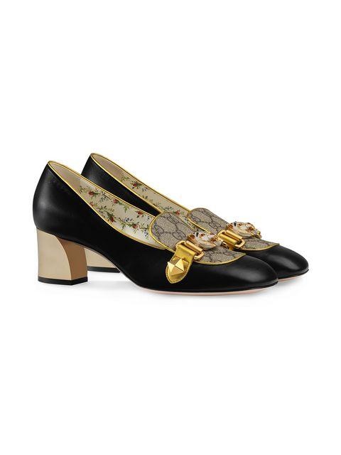Gucci Cheryl Embellished Printed Coated-Canvas And Leather Loafers In 1207 Grigio