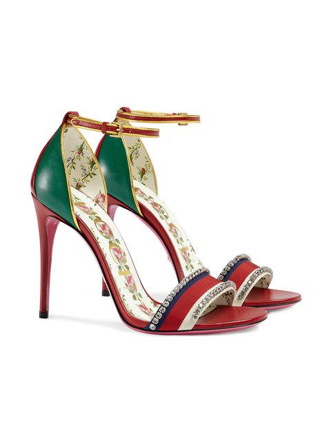 Gucci Ilse Crystal-Embellished Paneled Leather Sandals In 8073 Rosso