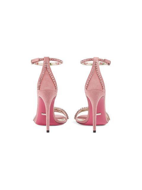 bbab15633 Gucci Ilse Crystal-Embellished Ankle-Wrap Sandal In Pink | ModeSens