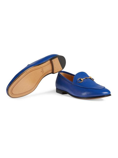 Gucci Jordaan Leather Moccasin Loafer In Blue