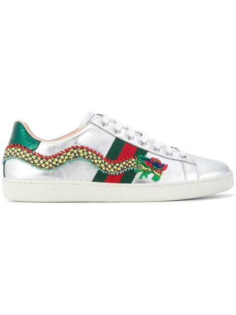 Gucci New Ace Dragon-Embellished Leather Trainers In 8169