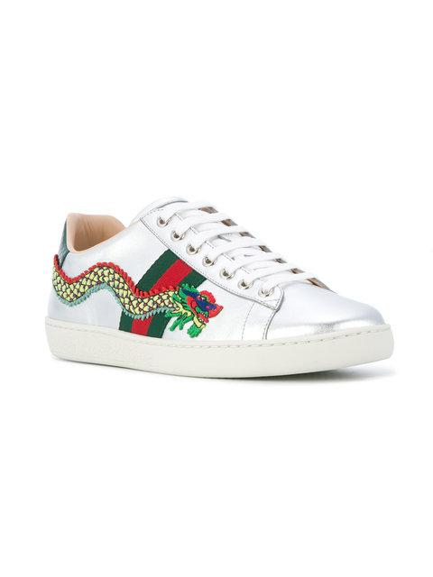 46977451dc3 Gucci New Ace Dragon-Embellished Leather Trainers In 8169