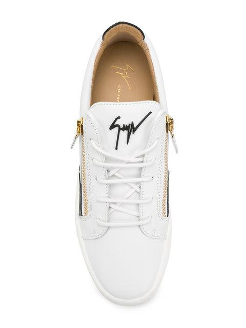 6a77f2db37ad8 Giuseppe Zanotti - Leather Low-Top Sneaker With Black Patent Leather Insert  Frankie In White