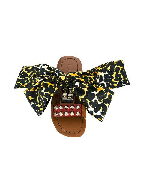 Prada Bow Detail Slides - Brown