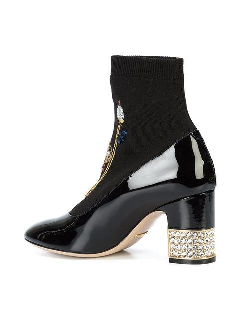 1d8d5a553 Gucci Women's Candy Embroidered Knit & Patent Leather Embellished Booties  In Black