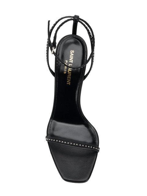Saint Laurent Opyum Logo-Heel Patent-Leather Sandals In 1000 Nero