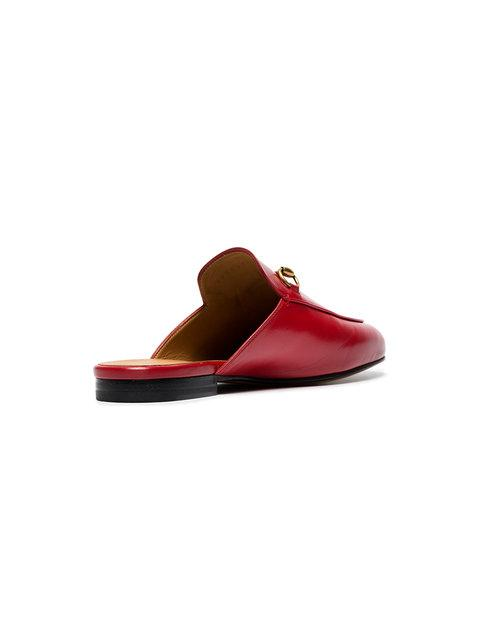 Gucci Princetown Horsebit-Detailed Leather Slippers In Red