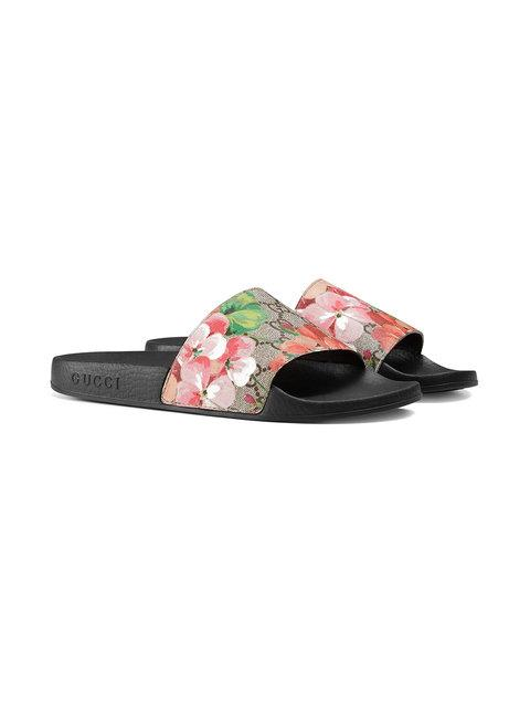 b7c902744 Gucci Women's Slippers Sandals St. Blooms Place Flowers Gg Supreme In 8919  Beige