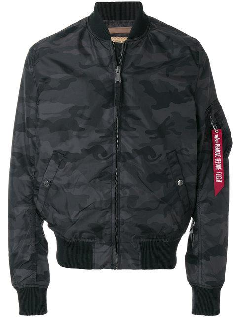 Camouflage Print Bomber Jacket in Black