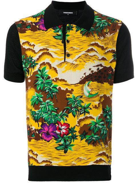 aed879810 Dsquared2 Denim & Hawaii-Print Bowling Shirt In 962 Nero Fantasia ...