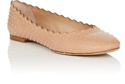 489fc8225cc ChloÉ Lauren Scalloped Ballet Flats With Silver Studs In Brown ...