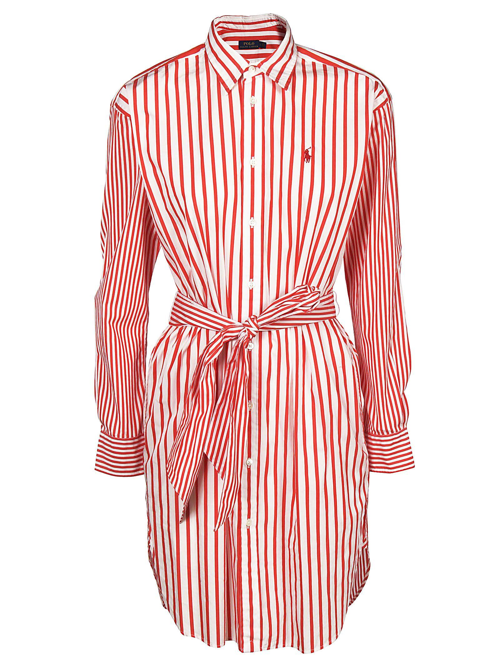Striped Shirt Dress In White Red