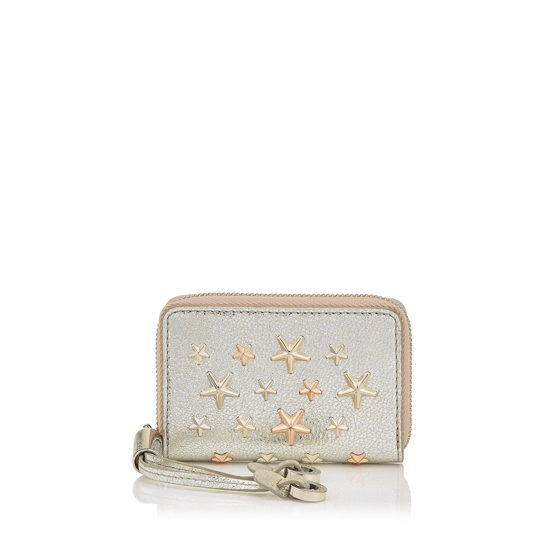 00dc8016d51 Jimmy Choo Nellie Champagne Glitter Leather With Multi Metal Rose Gold  Stars Coin Purse In Champagne