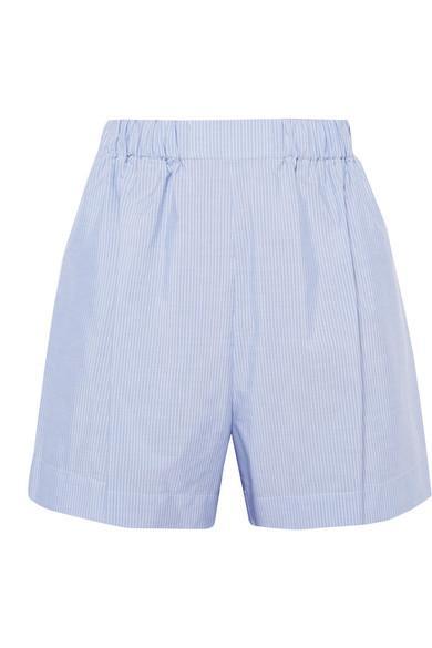 72c1cbeb2c Hillier Bartley Pinstriped Cotton-Poplin Shorts In Light Blue | ModeSens