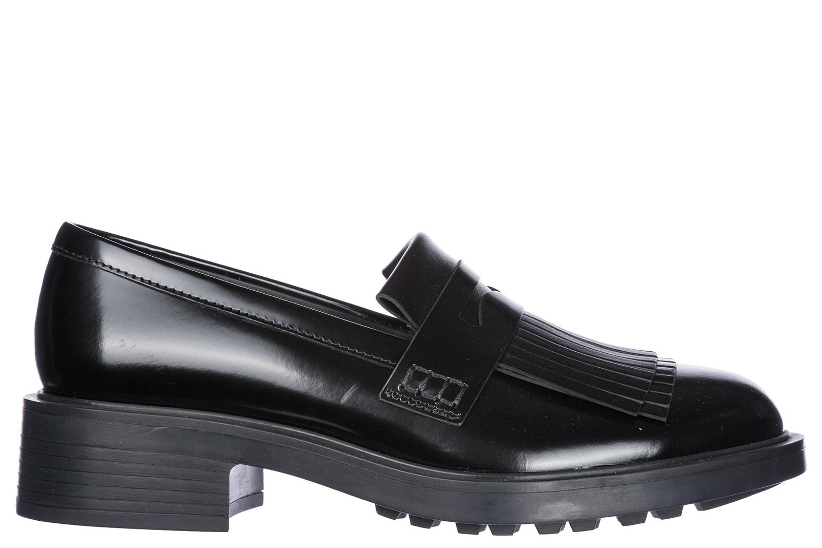Hogan Women's Leather Loafers Moccasins H332 In Black | ModeSens