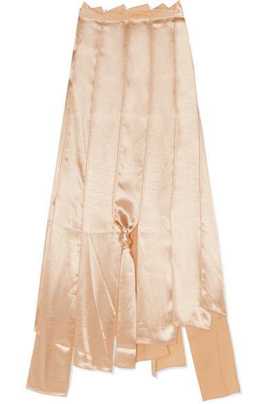 4ec72bb4b98f32 Rejina Pyo Lauren Asymmetric Satin Midi Skirt In Gold