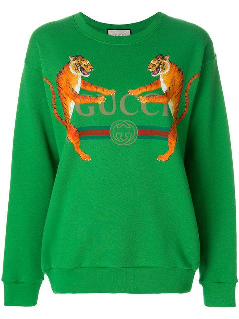 efd453ab0 Gucci Logo With Tigers Sweatshirt - Green In 3248 | ModeSens