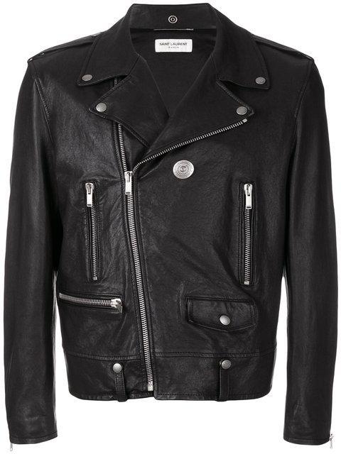 b328c08cf76 Saint Laurent Black Classic Pin Moto Jacket   ModeSens