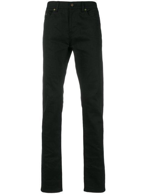 Saint Laurent Black Raw Denim Skinny Jeans Modesens
