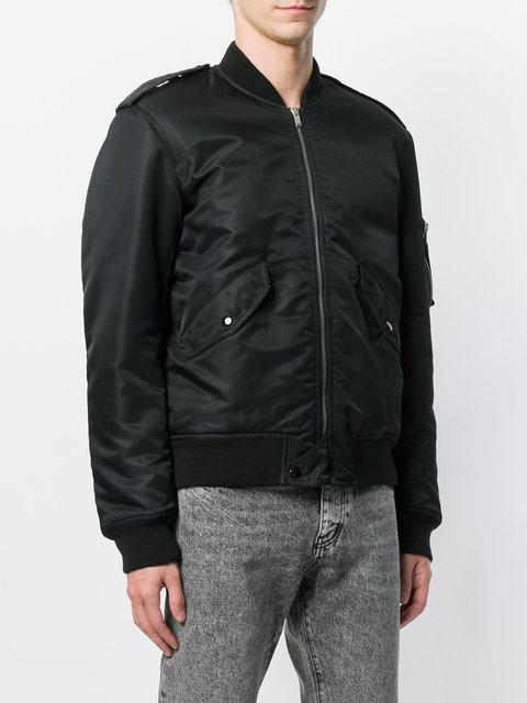 78536c4b15 Bomber Jacket In Slouchy Leather in Black