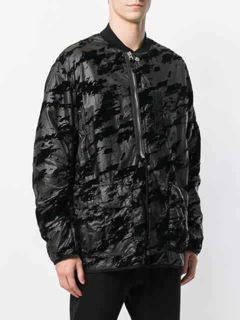 c48c2f5e3 Stone Island Shadow Project Printed Button Bomber Jacket - Farfetch in Black