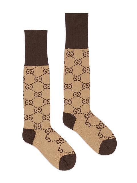 Gucci Interlocking-Gg-Print Mid-Calf Socks In Neutrals
