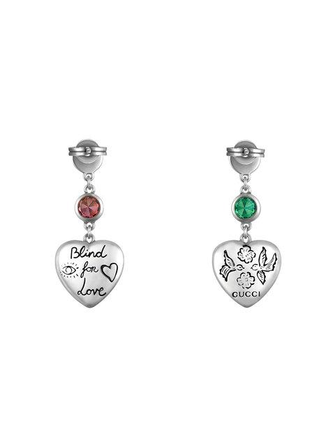 c86705be5cc Gucci Blind For Love Sterling Silver And Multi-Coloured Zirconia Earrings  In Metallic