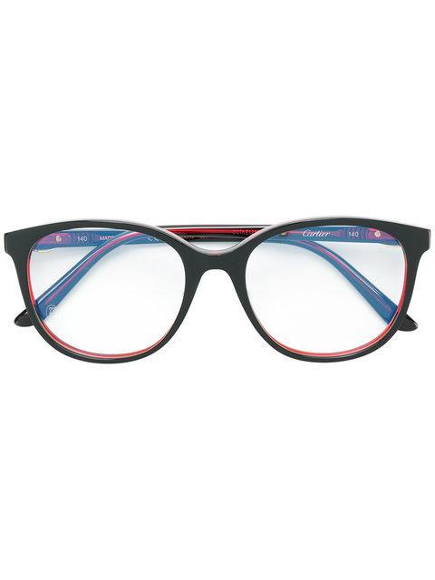 f8560e50a Cartier Oversized Round Frame Glasses - Black   ModeSens