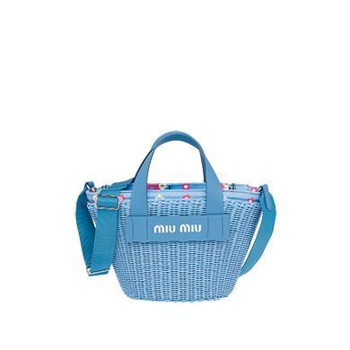 a4eb07688d5 Miu Miu Wicker And Fabric Handbag In Celeste
