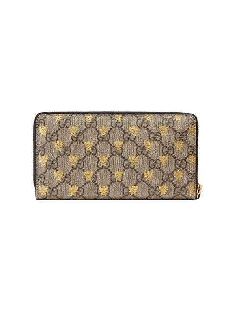 8dac7ce8b5e Gucci Linea A Gg Supreme Canvas Zip-Around Wallet In Neutrals
