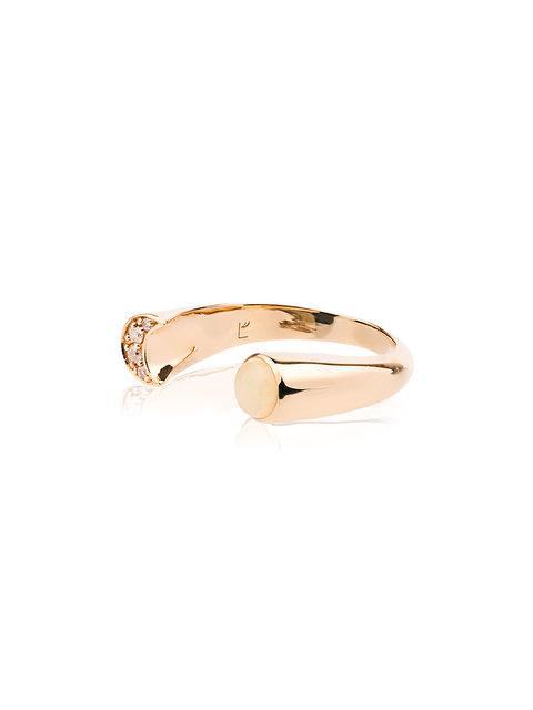 Pamela Love Diamond And Opal Luna Ring - Metallic