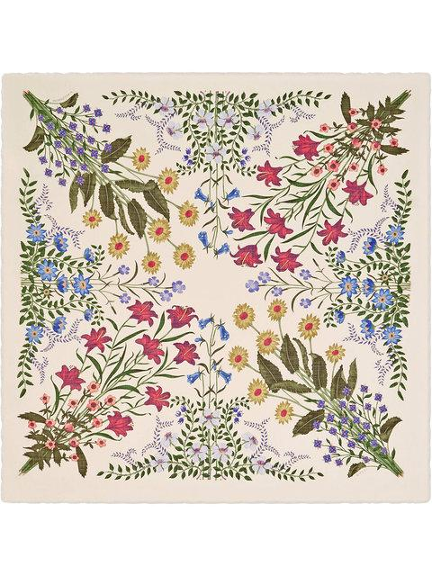 6aad3c910 Gucci New Flora Print Wool Silk Shawl - Neutrals | ModeSens