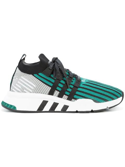 3d4cd0bddbb6c Adidas Originals Eqt Support Mid Adv Primeknit Sneakers In Green - Green In  Black