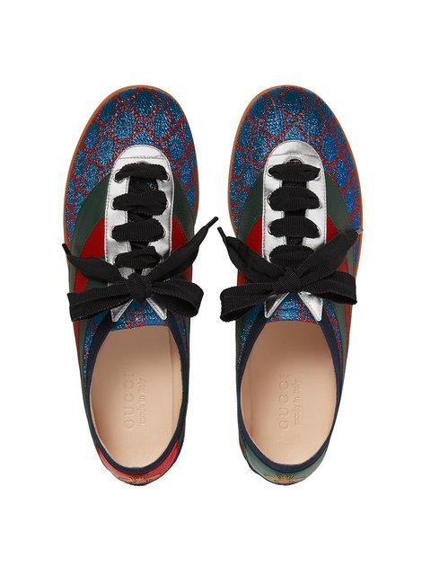 Gucci Brogue Shoes Competition Sneakers In Gg Lurex With Web Bands And Bee Embroidery In 4077 Blu