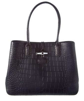Longchamp Roseau Croc- Embossed Leather Tote In Black