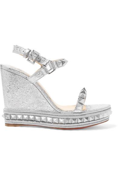 bfa64f539ba Christian Louboutin Pyraclou 110 Spiked Metallic Textured-Leather Wedge  Sandals